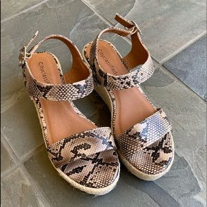 Shoes - Natural Python Open Toe Ankle Strap Espadrille